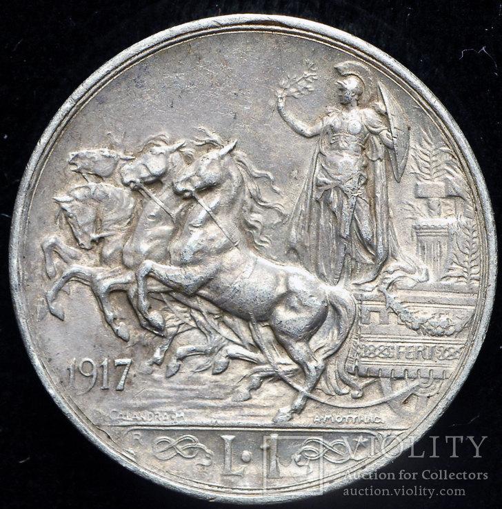 Италия 1 лира 1917 аUnc серебро