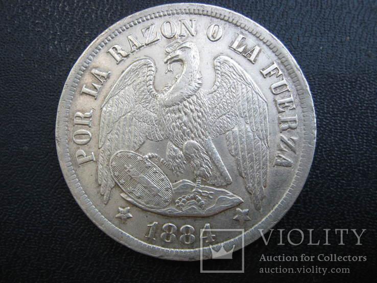 Чили 1 песо 1884г. Кондор.