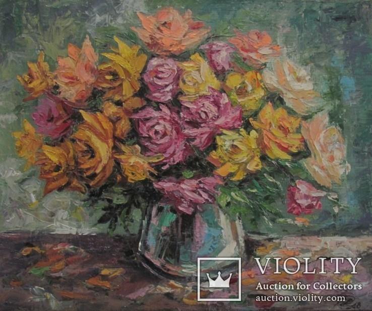 Розы,49/59,холст ,масло Автор Елена Цибина.