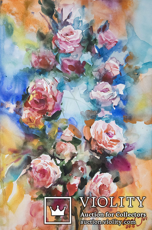 Букет роз. Акварель 50х35 см. Ю.Смаль