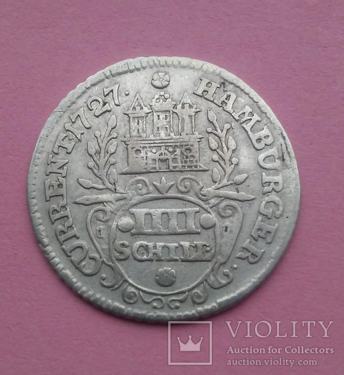 Гамбург 4 шиллинга Серебро 1727р