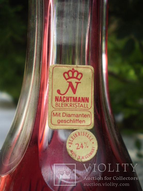 Графин штоф цветной накладной хрусталь рубин Nachtmann ручная работа, фото №5