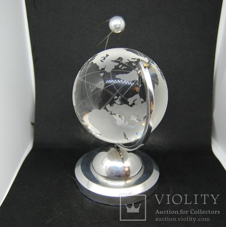 Настольный сувенир. Спутник вокруг земного шара. Космос. Стекло., фото №3