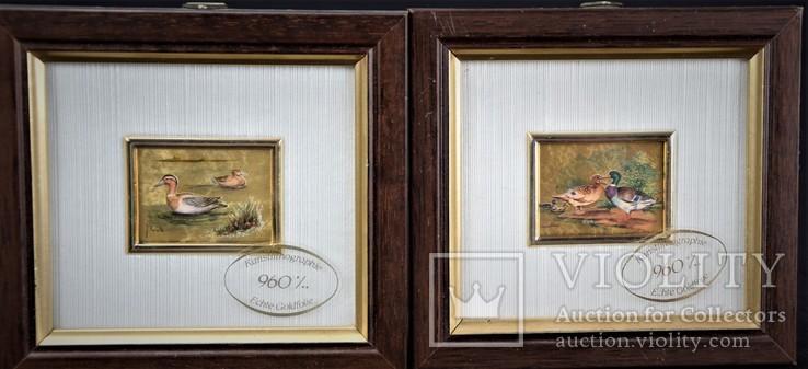 Картина на золоте 2 шт . Подпись художника Сертификат Европа