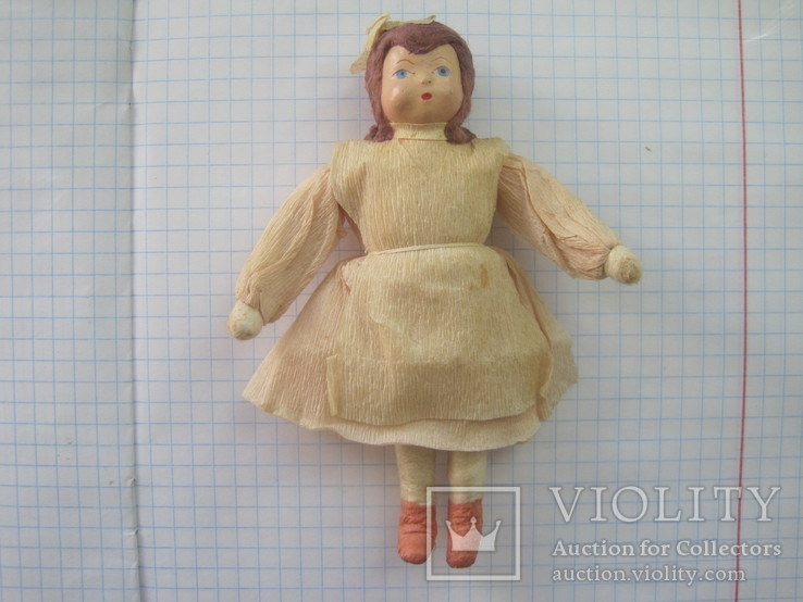 Старинная елочная игрушка из ваты девочка