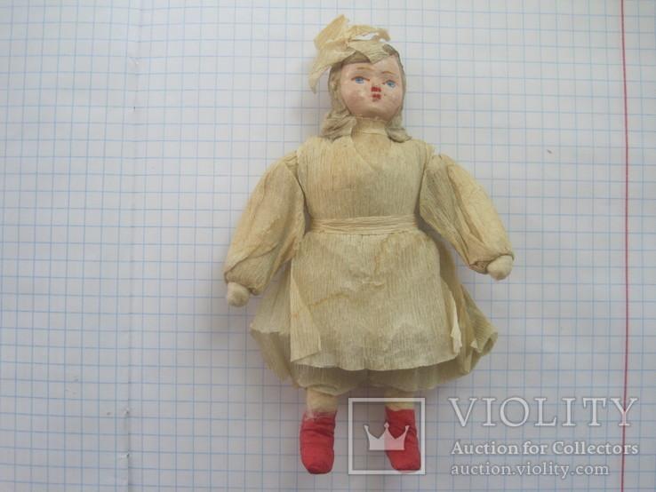 Старинная елочная игрушка из ваты девочка #2