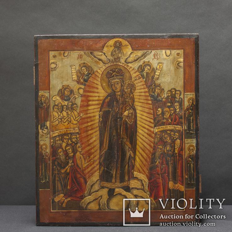 Старинная Икона Святая Богородица . Всех скорбящих радость.  Конец 19 века