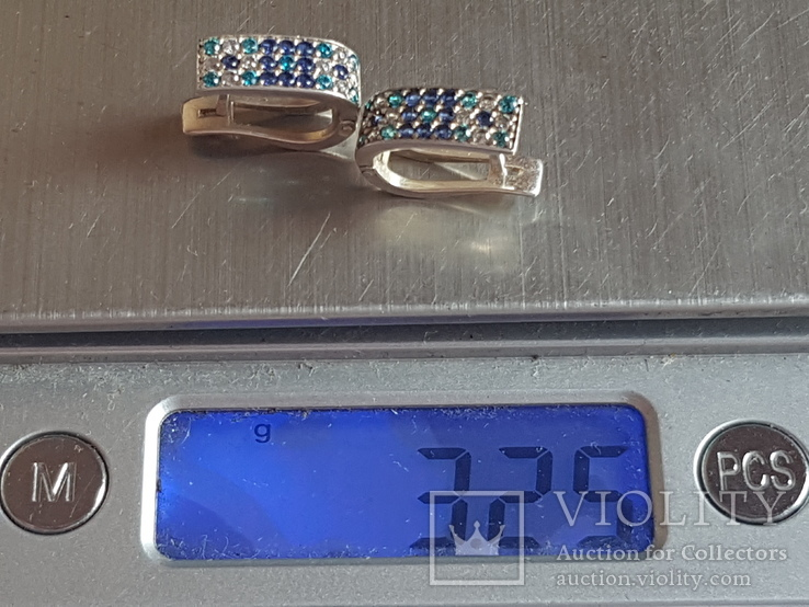 Серьги серебро 925 проба. Камни., фото №7
