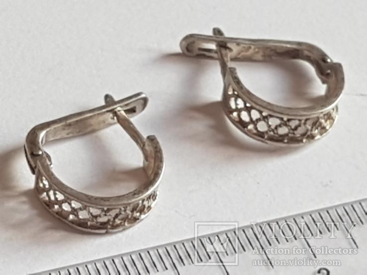 Советские серьги серебро 875 проба. СССР., фото №3