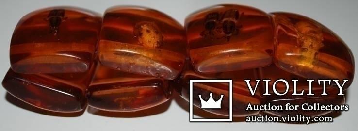 Браслет имитация янтаря(бакелит/прес.янтарь/эбоксит.смола и др.) с коллекцией насекомых., фото №5