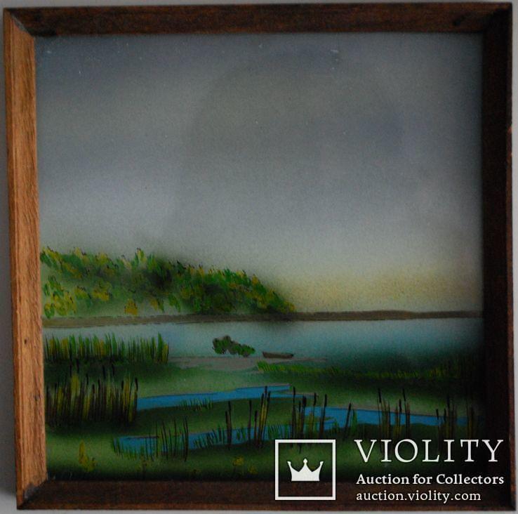 Миниатюра у.н ''У водоема'', роспись стекла, 16х16 см., фото №3