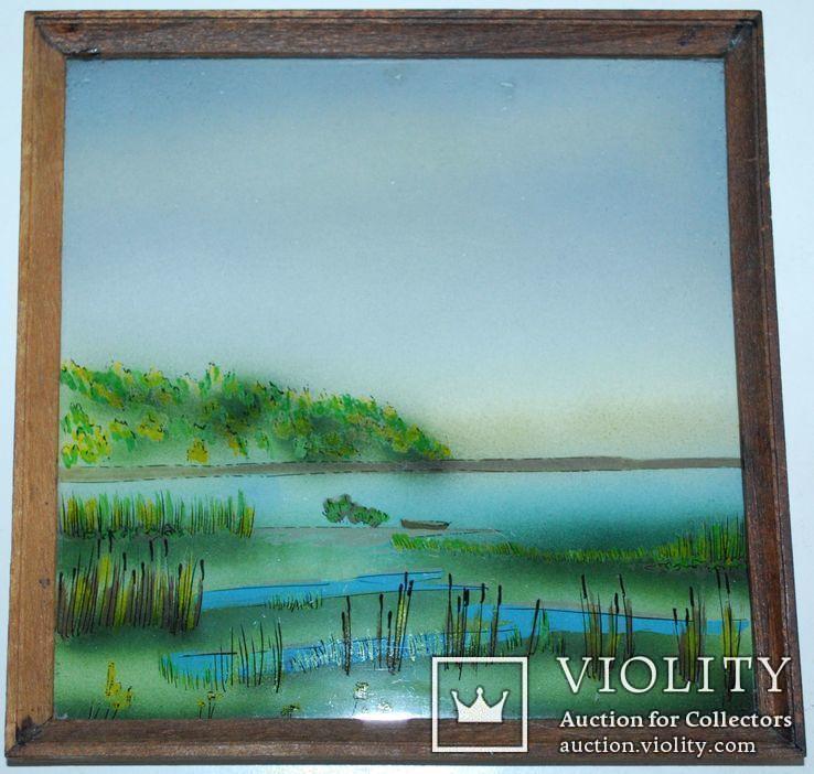 Миниатюра у.н ''У водоема'', роспись стекла, 16х16 см., фото №5