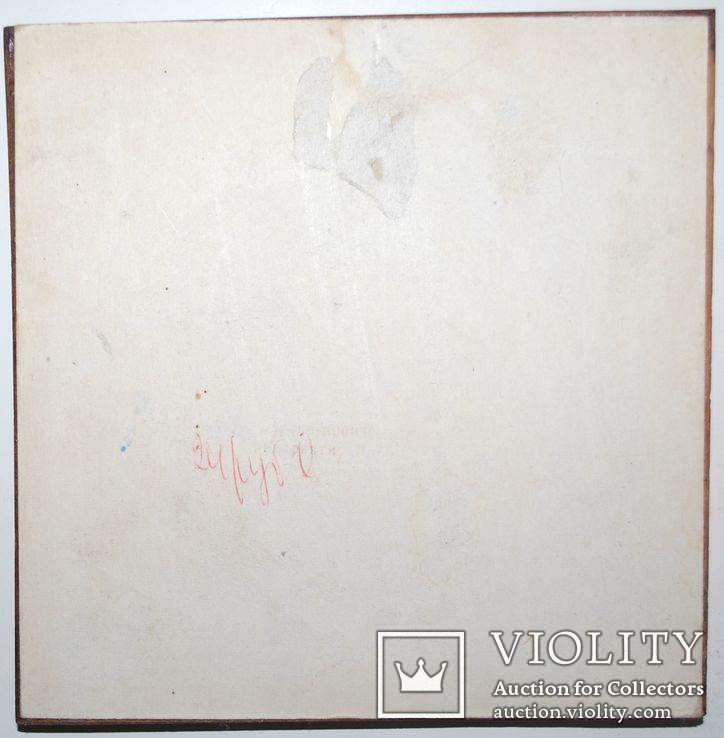 Миниатюра у.н ''У водоема'', роспись стекла, 16х16 см., фото №6