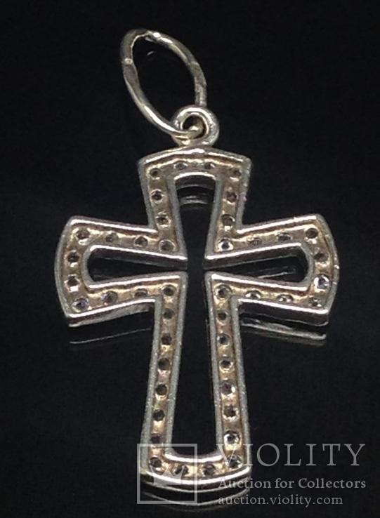 Крестик, цирконы, фото №3