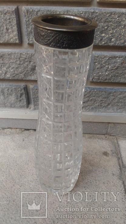 Хрустальная ваза с серебром 875