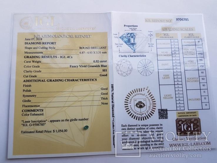 Природный бриллиант 0,52 карат сертификат