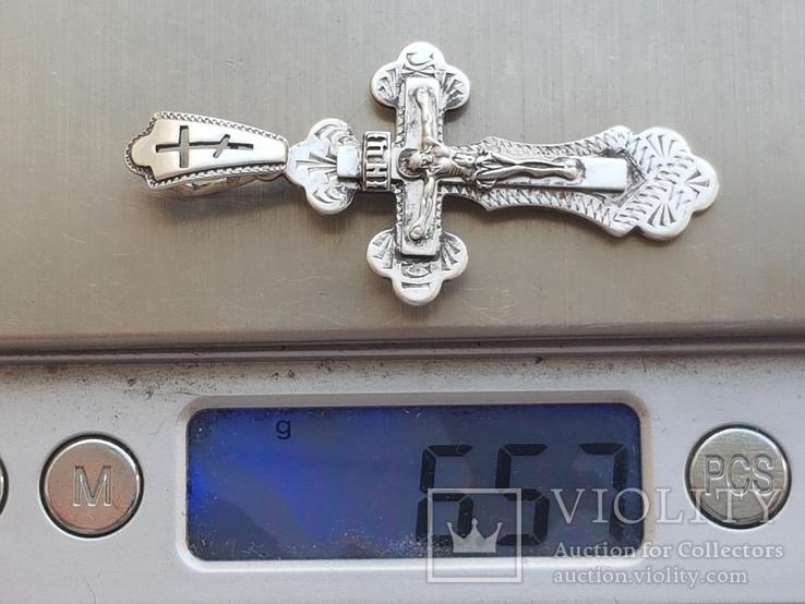 Крестик нательный серебро 925 проба. Большой., фото №8