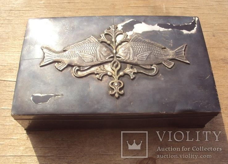 Серебряная шкатулка\хьюмидор, 426 грамм., фото №2