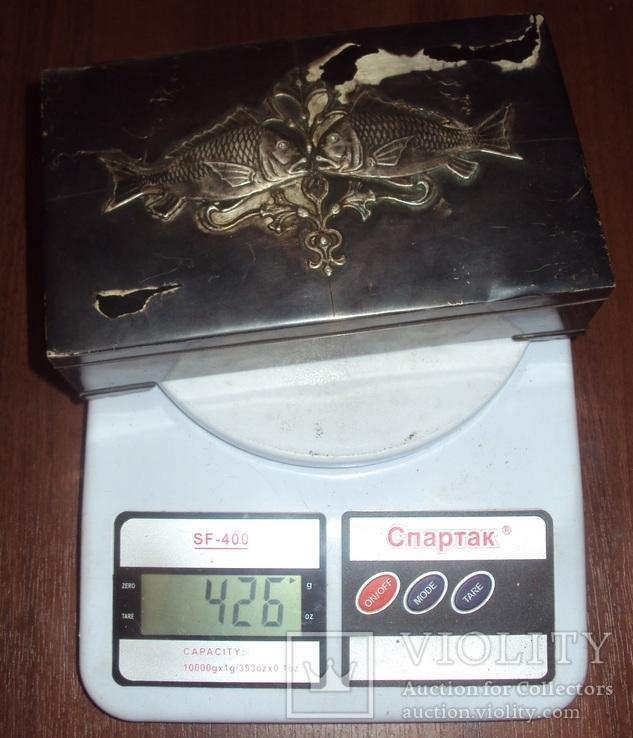 Серебряная шкатулка\хьюмидор, 426 грамм., фото №13