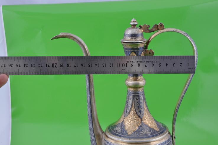 Набор: кувшин, 6 рюмок и поднос. Серебро 875 пробы, фото №12