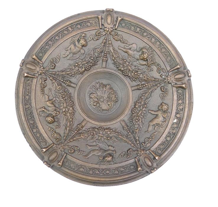 Большая декоративная терелка из бронзы с Ангелами .