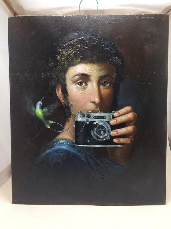 Картина маслом, на кленовой доске «Дагеротипия»