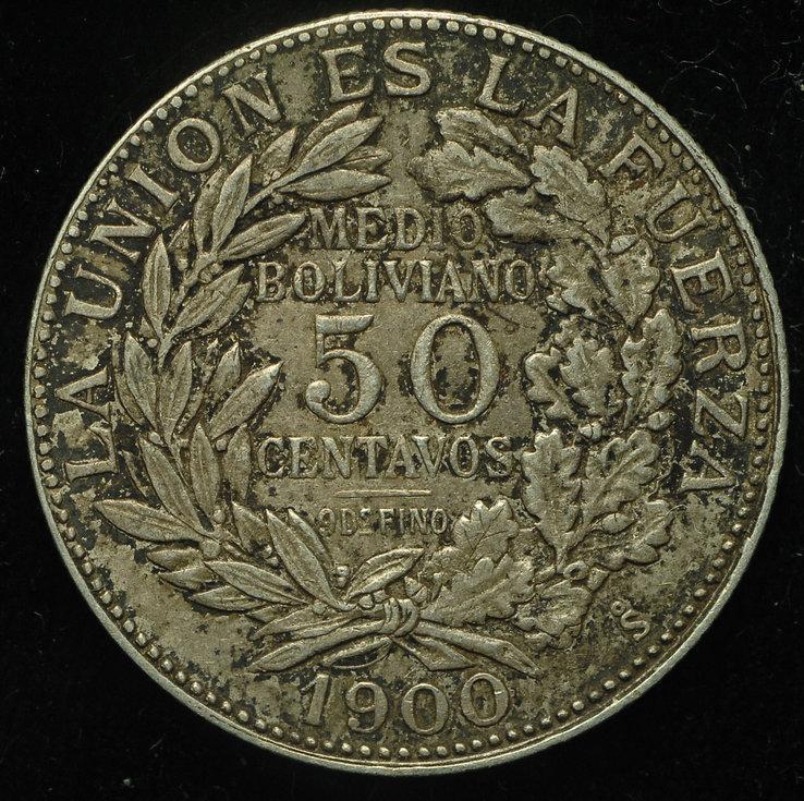 Боливия 50 сентаво 1900 аUnc серебро