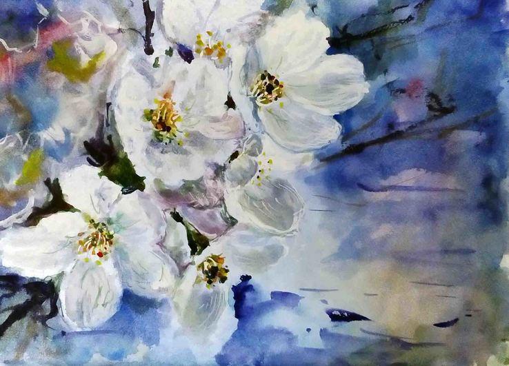 Яблуневий цвіт.31х21см.Акварель
