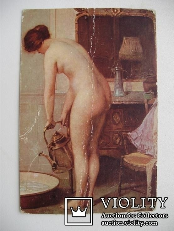 "Открытка Сезилль де Эссарь ""Ванна"" 1914 г., фото №2"