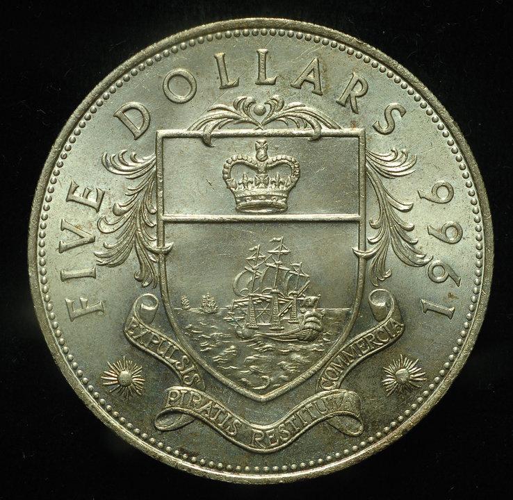 Багамы 5 долларов 1966 Unc серебро 42,12 грамм 925 пробы