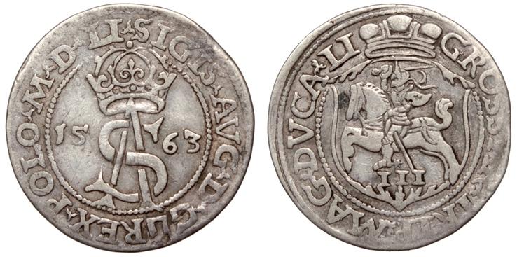 Zygmunt II August, Trojak Wilno 1563 POLO LI/LI rzadki
