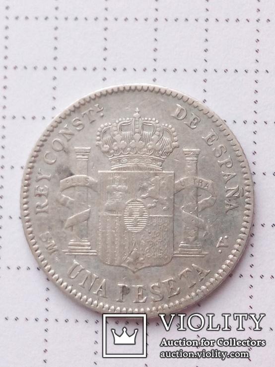 1 песета 1901г. Испания, серебро.