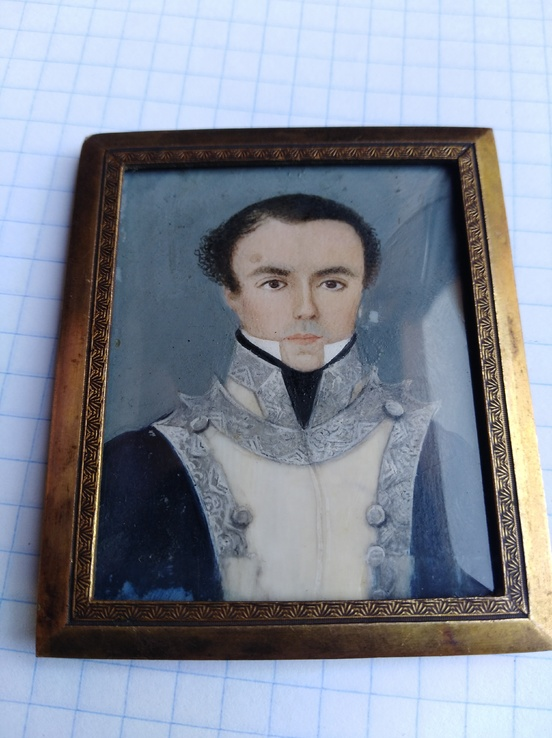 Старинная картина.Миниатюрный портрет.Кость.Акварель. Фото Военного