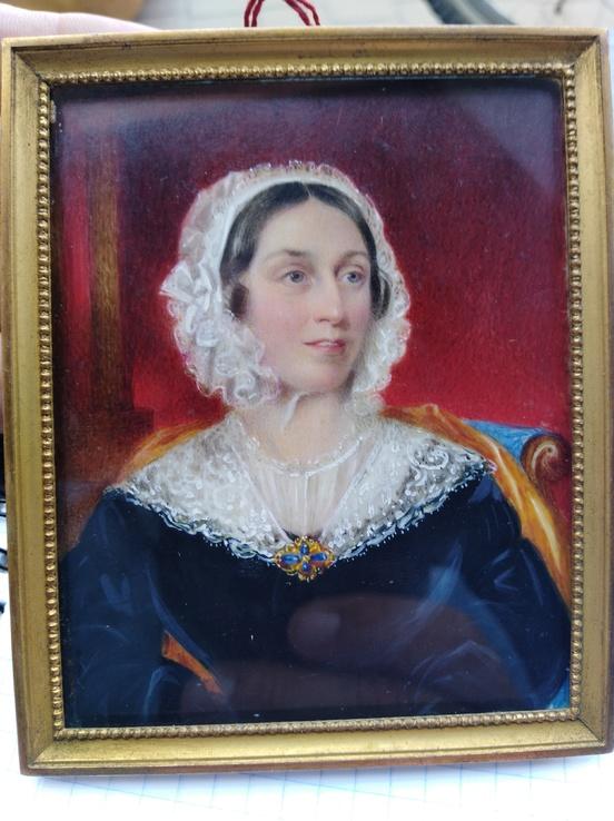 Старинная картина.миниатюрный портрет.акварель.кость.Портрет Дама