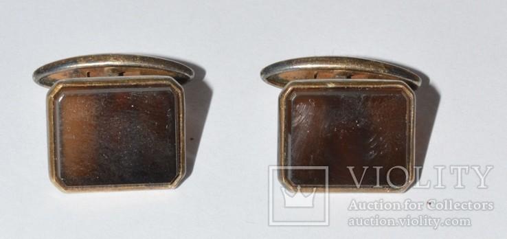 Запонки  серебро камень ссср. 875, фото №3