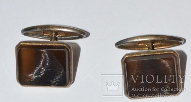 Запонки  серебро камень ссср. 875, фото №4