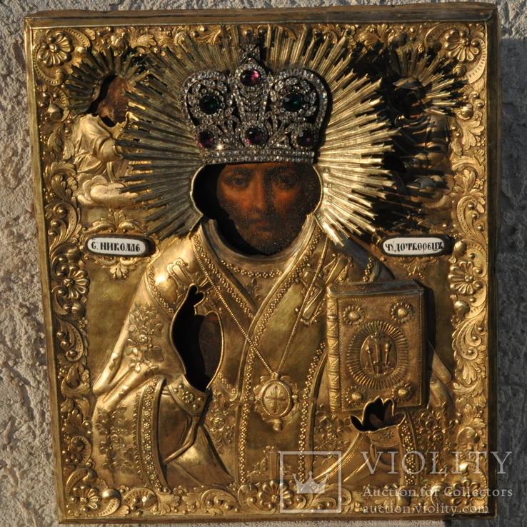 Икона С.Николай Чудотворец 1840-41гг.Оклад серебро 84 пр.310*270 мм.