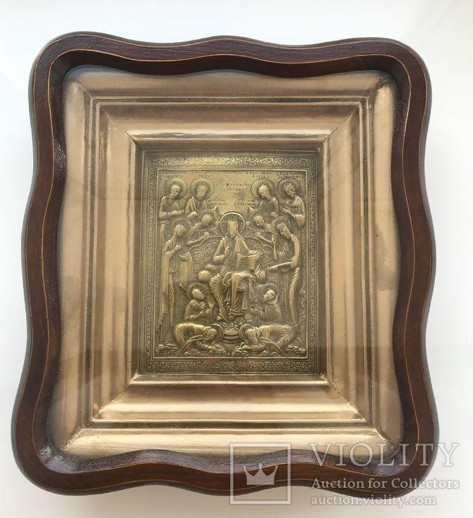 Икона «Деисус со святыми» в киоте, фото №2