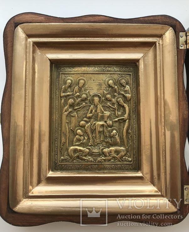 Икона «Деисус со святыми» в киоте, фото №4