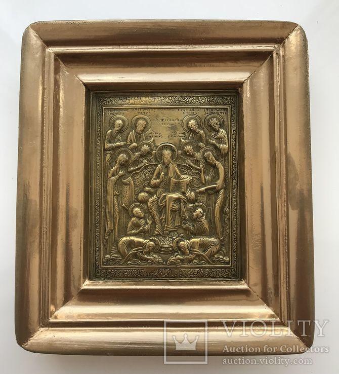 Икона «Деисус со святыми» в киоте, фото №5
