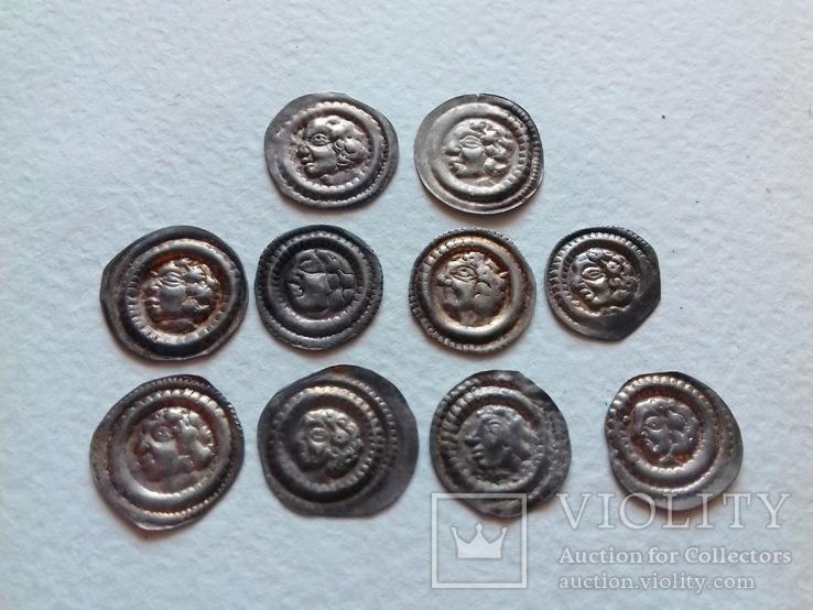Лот з 10х брактеатів Бели ІІІ 1172-1196 рр. Угорщина №2