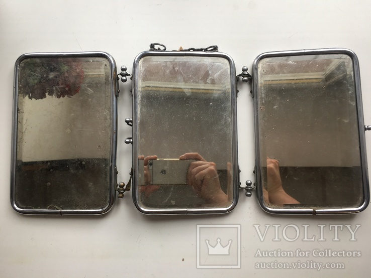 Старая раскладная фоторамка - зеркало, фото №2