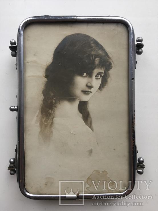 Старая раскладная фоторамка - зеркало, фото №3