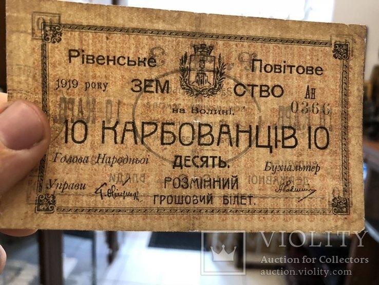 10 карбованців 1919 рік Рівненське Повітове Земство, фото №4