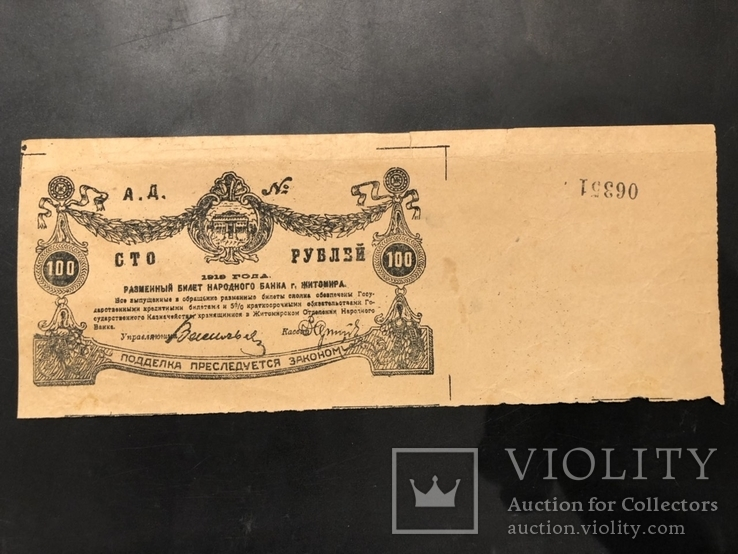 100 рублей Житомир 1918 R, фото №2