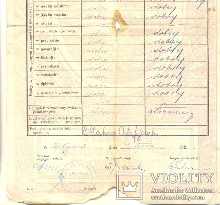 Повідомлення шкільне Коломия табель 3 шт 1922-1923-1924/5, фото №11