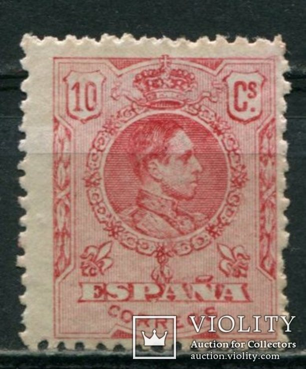 1909 Испания Король Альфонсо XIII 10c голубой контр номер