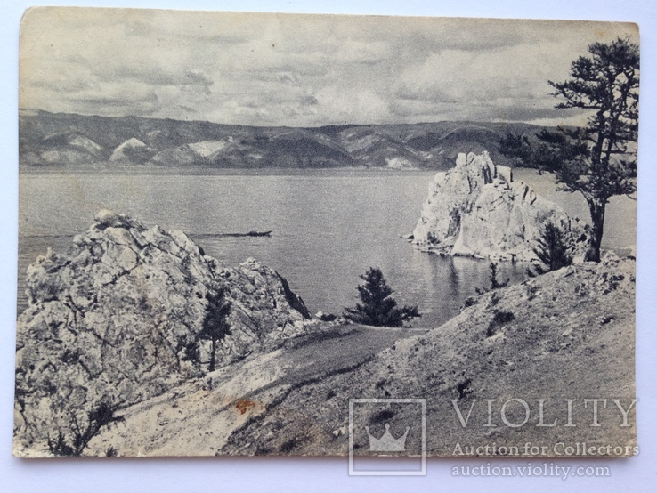 Открытка. Малое море с острова Ольхон. Байкал. Изогиз. 50-е. 40 тыс.экз., фото №2