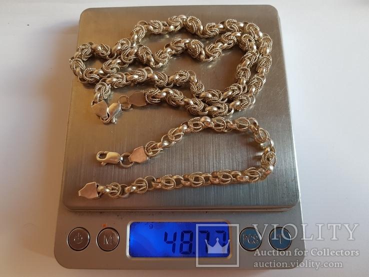Цепочка 925 серебро + Браслет серебро 925 проба. Вес 48 г., фото №7