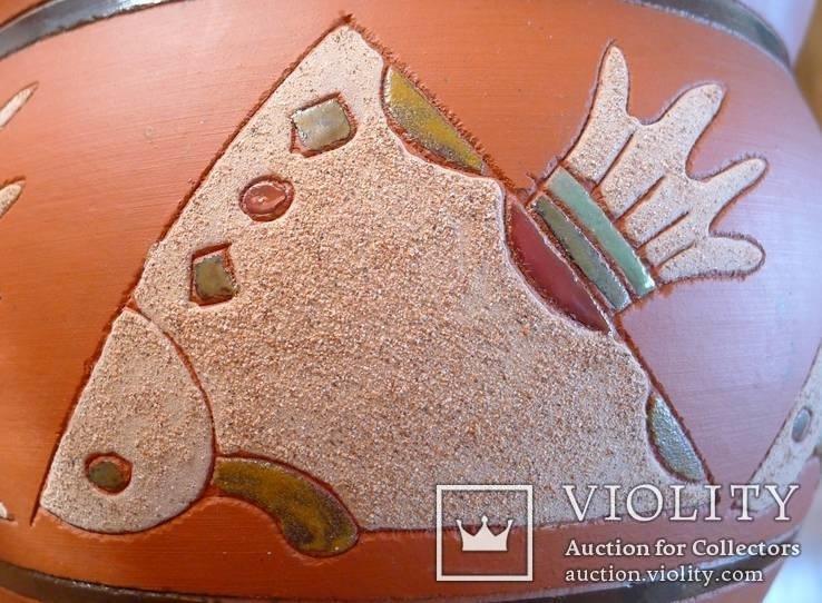 Глиняный цветочный горшок для цветов. Рыбы. Терракота. №2, фото №7